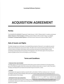 Acquisition Agreement Template
