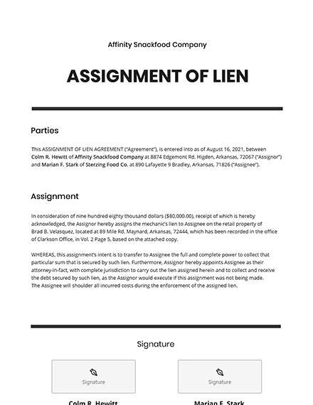 Assignment of Lien Template