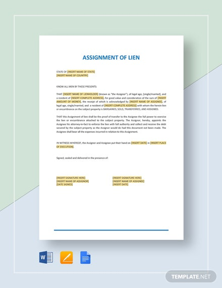 Assignment of Lien Template