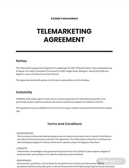 Telemarketing Agreement Template