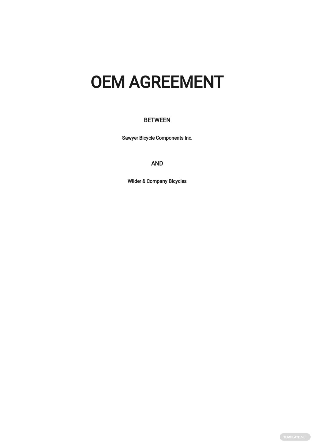 OEM Agreement Template