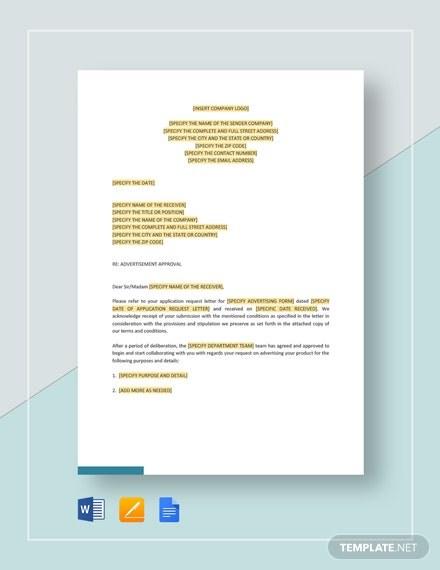 Advertisement Approval Letter Template