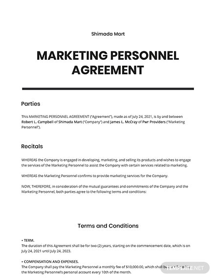 Marketing Personnel Agreement Template