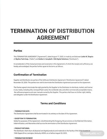 Termination of Distribution Agreement Sample