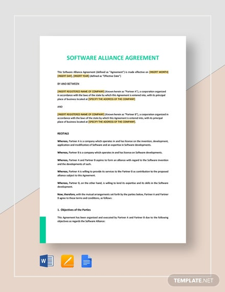 Software Alliance Agreement Template