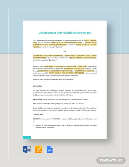 Development and Publishing Agreement Template
