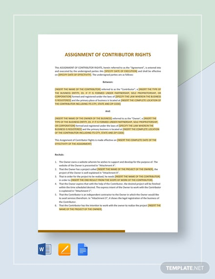 Assignment of Contributor Rights Template