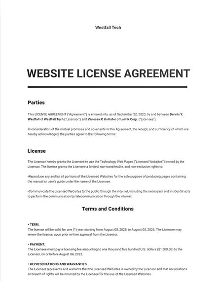 Website License Agreement Template