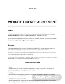 Website License Agreement Template