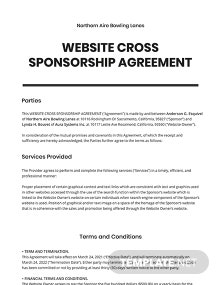 Website Cross Sponsorship Agreement Template