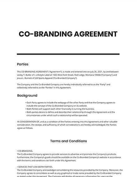 CoBranding Agreement Template
