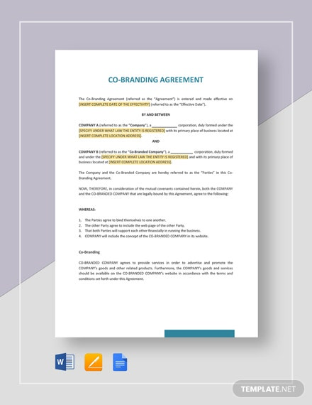 Co-Branding Agreement Template