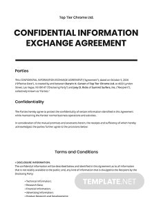 Confidential Information Exchange Agreement Template