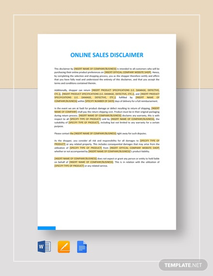 Online Sales Disclaimer Template