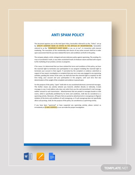 Anti-Spam Policy Template