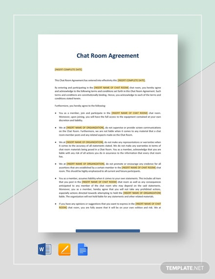 Chat Room Agreement Template