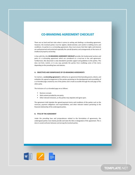Co-Branding Agreement Checklist Template