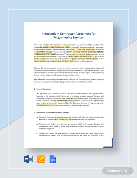 Independent Contractor Agreement For Programming Services Template