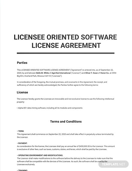 Licensee Oriented Software License Agreement Sample
