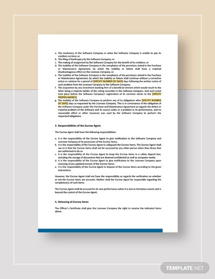 Source Code Escrow Agreement Template Word Google Docs