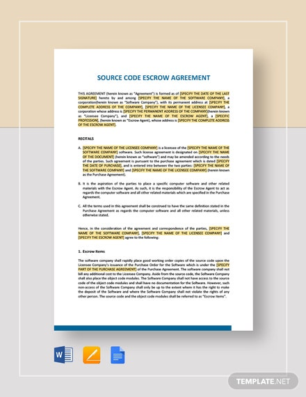 Source Code Escrow Agreement Template