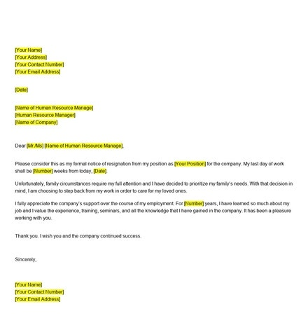 Free Resignation Letter Because of Family Reasons