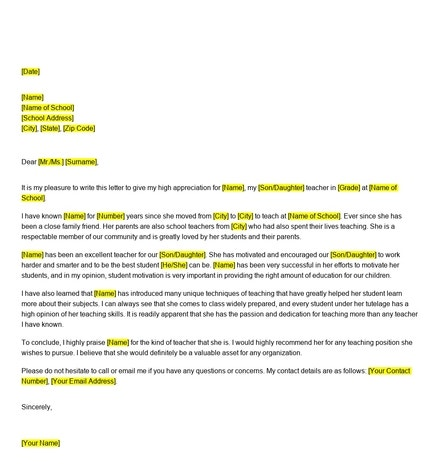 Free Reference Letter for Teacher from Parents
