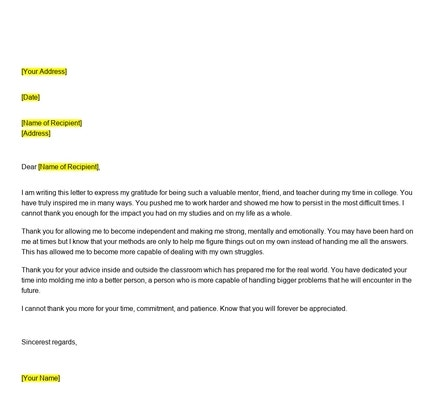Free Thank You Letter To Mentor Teacher