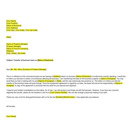 Free Business Lease Transfer Letter