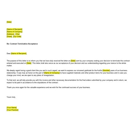 Free Contract Termination Acceptance Letter