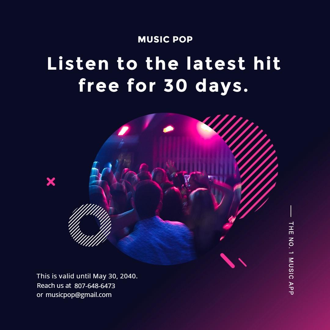 Modern Music App Promotion Instagram Post Template