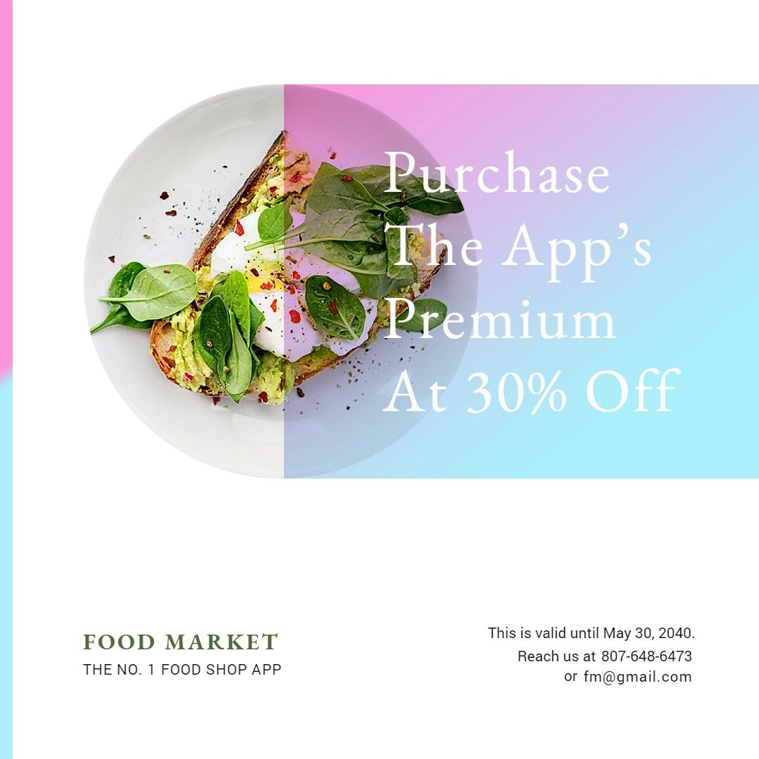 Food App Promotion Instagram Post Template