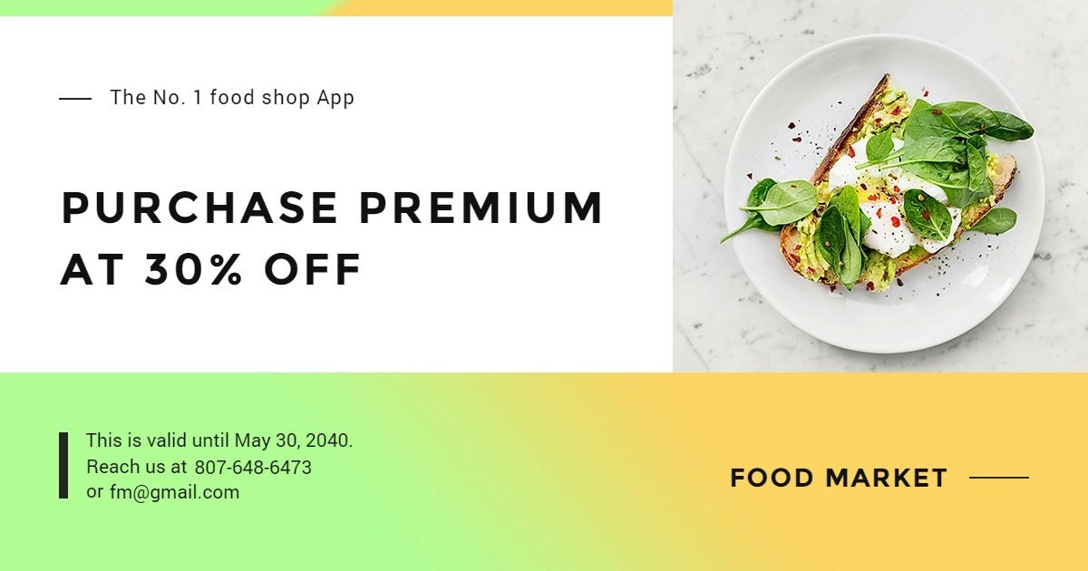 Restaurant App Promotion Facebook Post Template