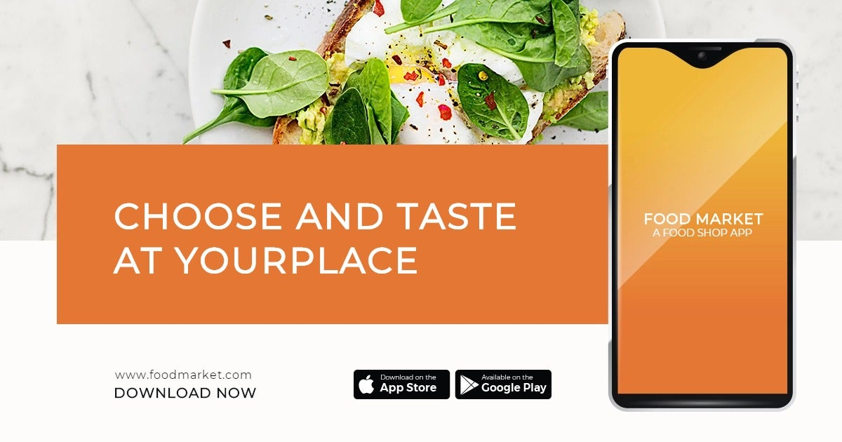 Food Mobile App Promotion Facebook Post Template