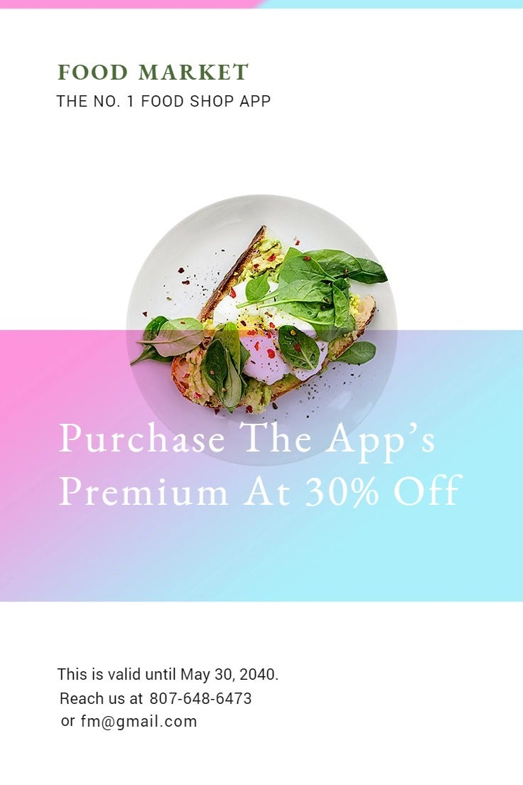 Food App Promotion Pinterest Pin Template