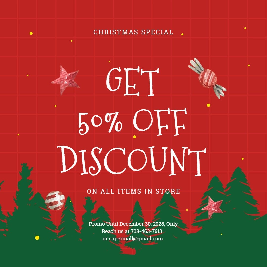 Holiday Off Discount Sale Instagram Post Template