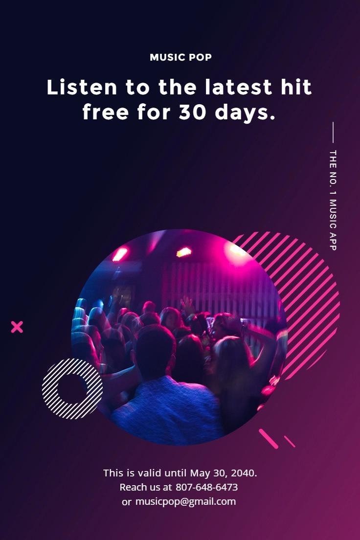 Modern Music App Promotion Pinterest Pin Template