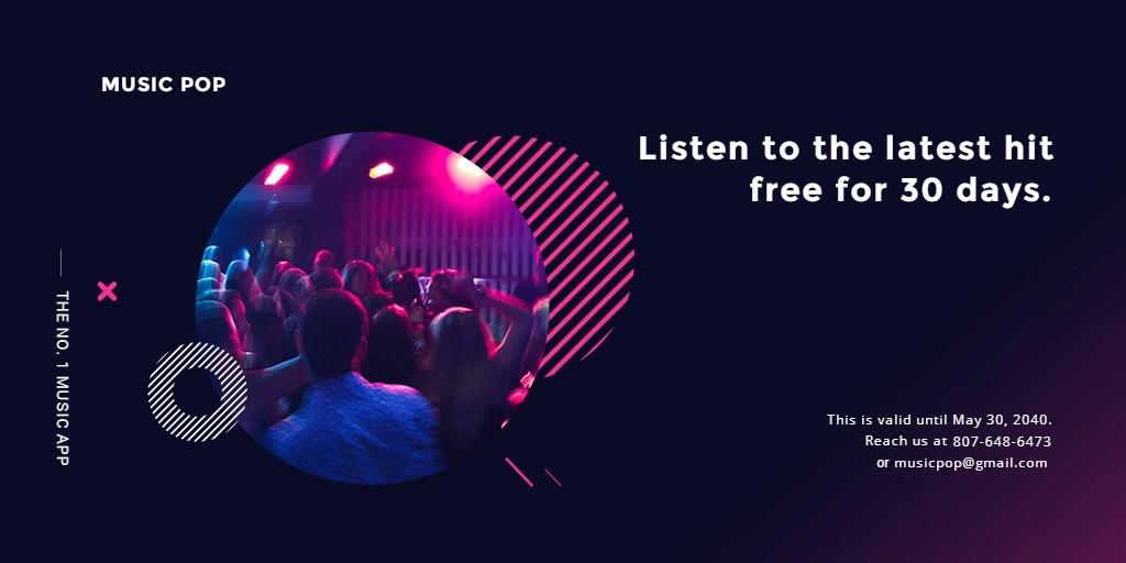 Modern Music App Promotion Twitter Post Template