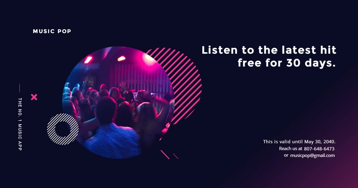 Modern Music App Promotion Facebook Post Template