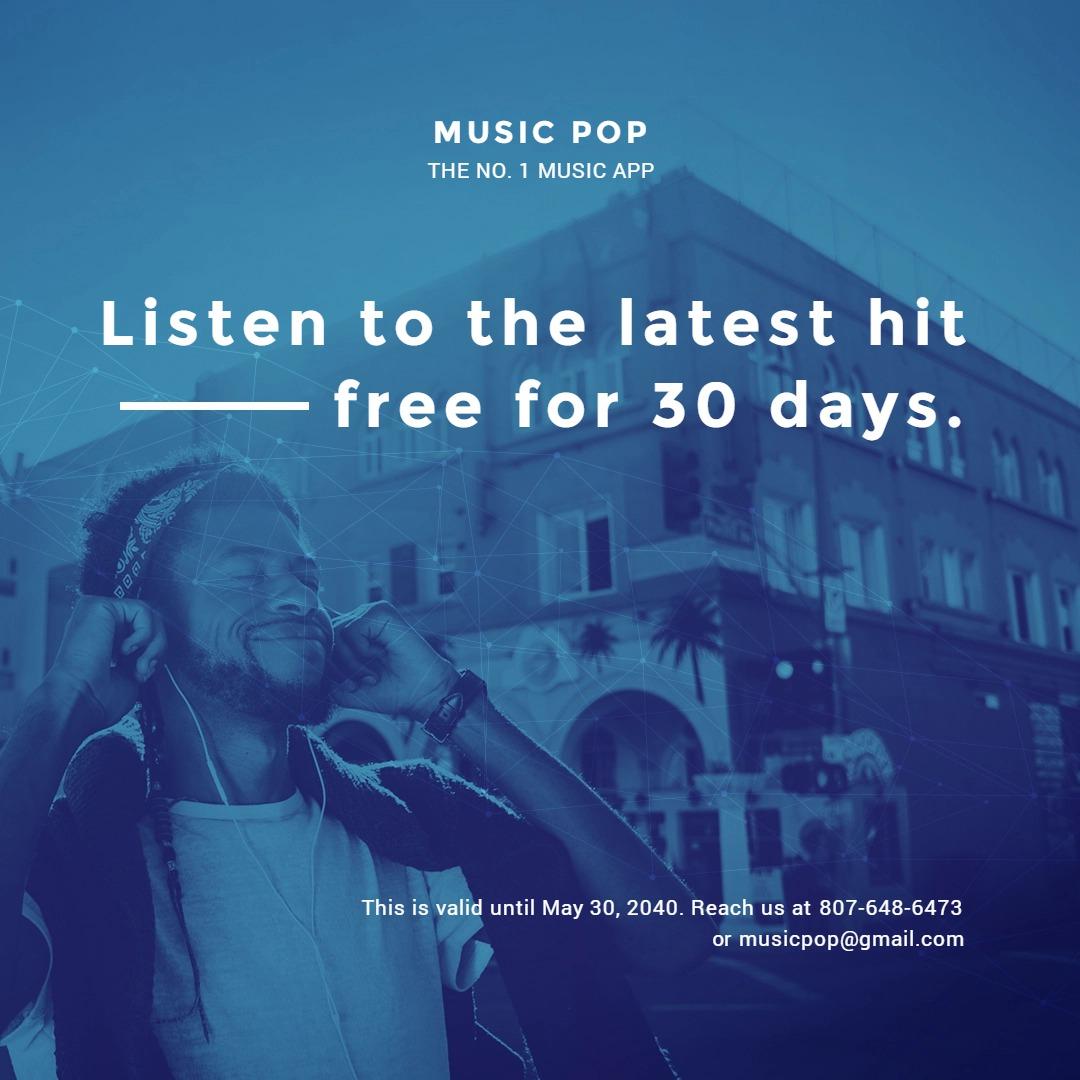 Music App Promotion Instagram Post Template