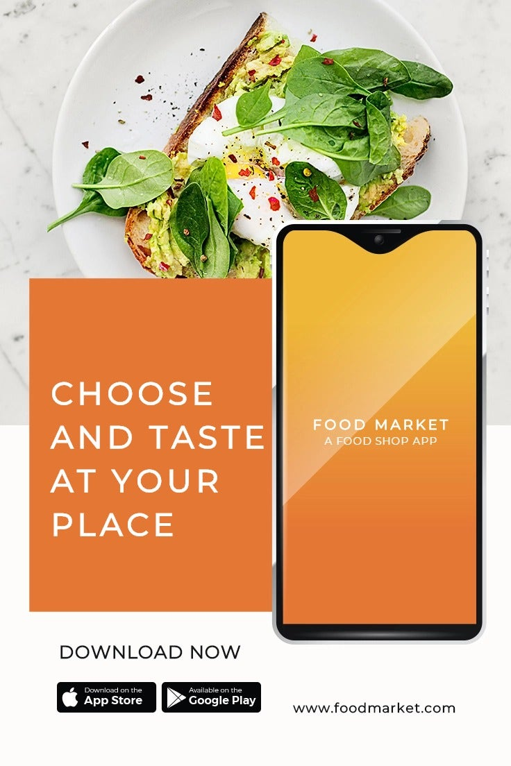 Food Mobile App Promotion Pinterest Pin Template