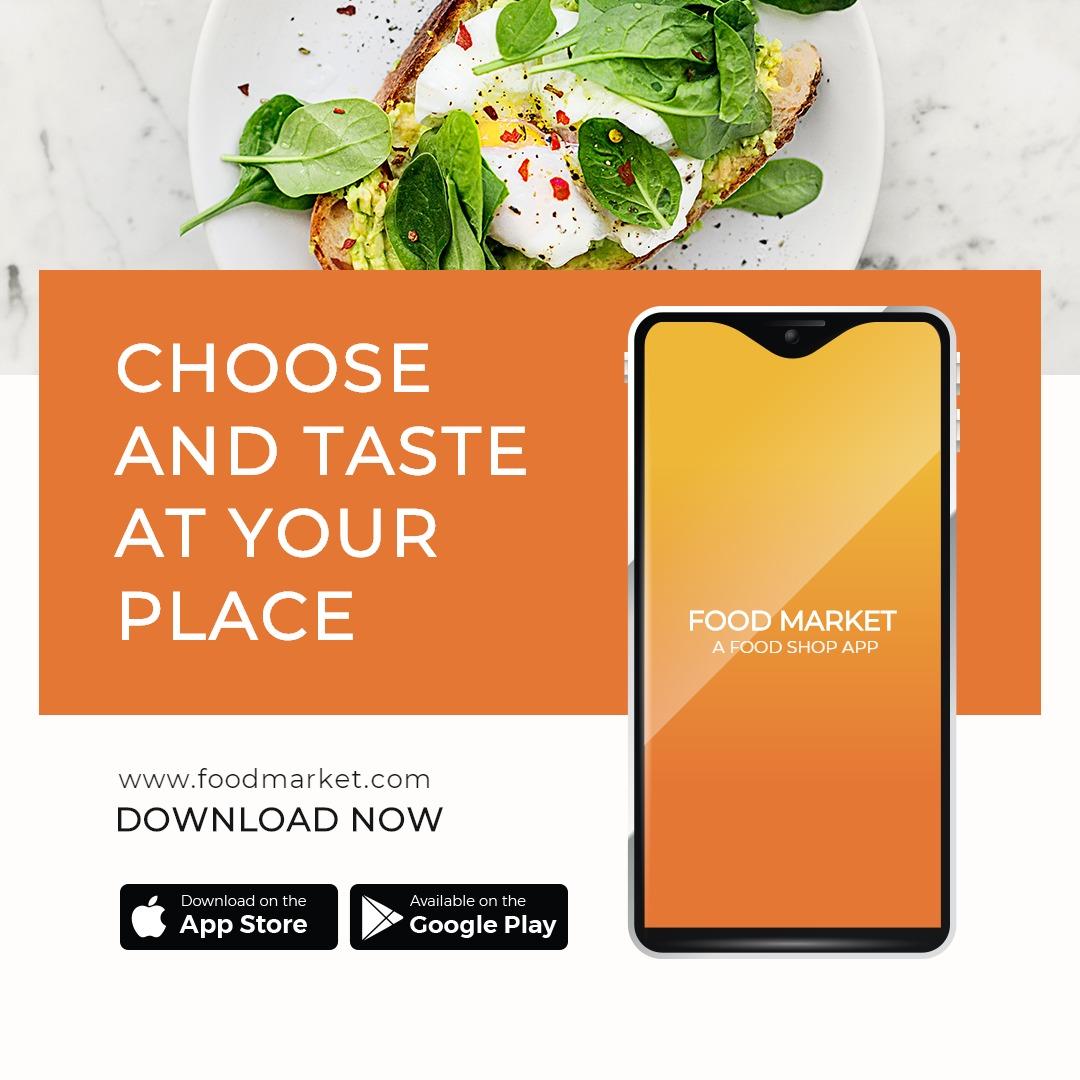 Food Mobile App Promotion Instagram Post Template