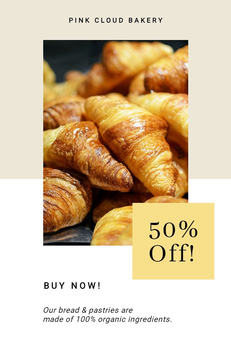 Bakery Store Promotion Pinterest Pin Template