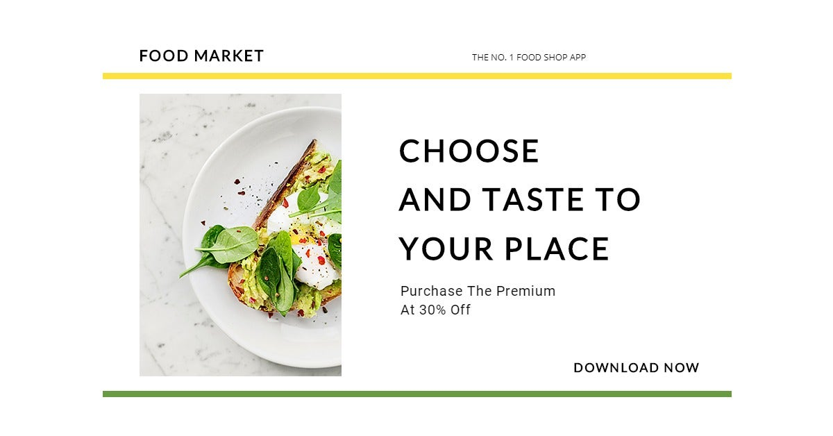 Food Market App Promotion LinkedIn Post Template