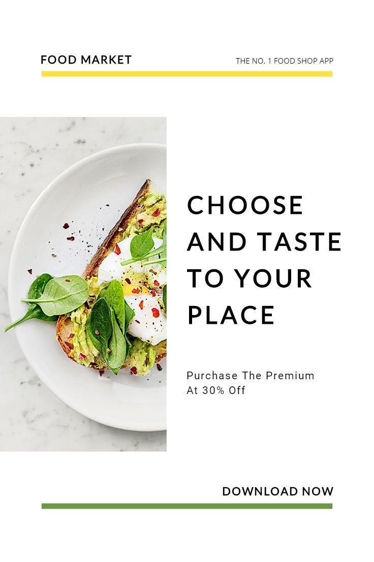 Food Market App Promotion Pinterest Pin Template
