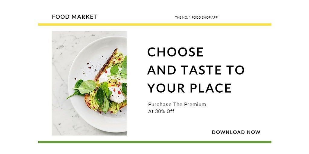 Food Market App Promotion Twitter Post Template