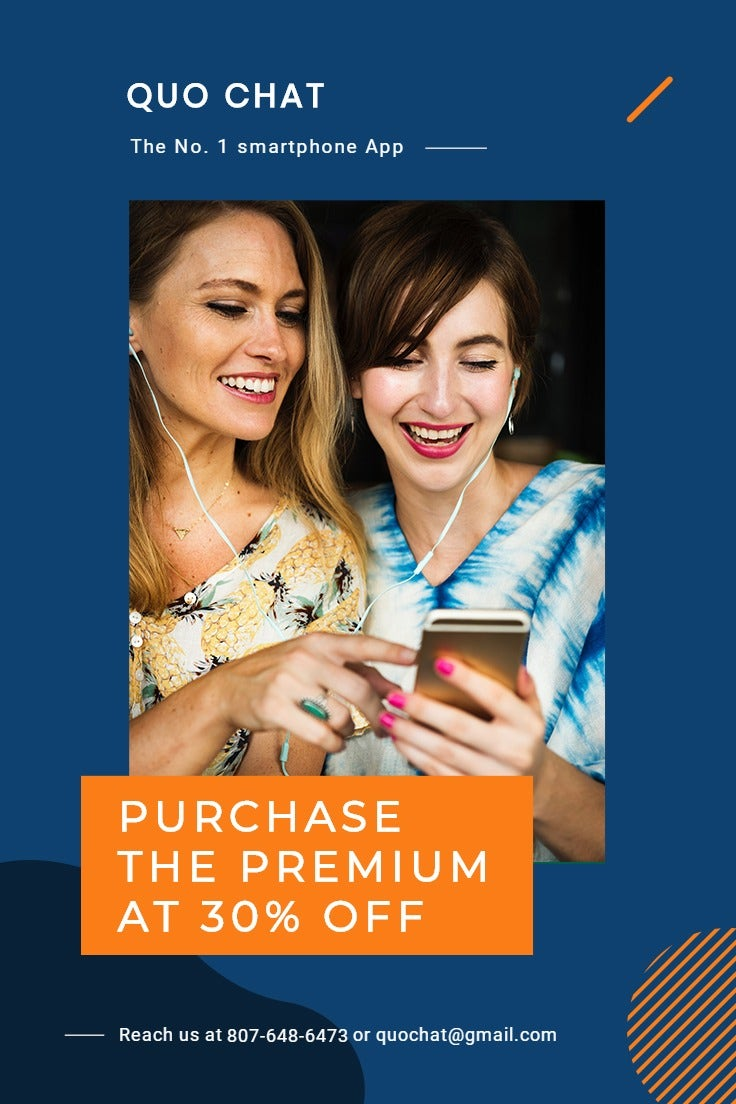 Smartphone App Promotion Pinterest Pin Template