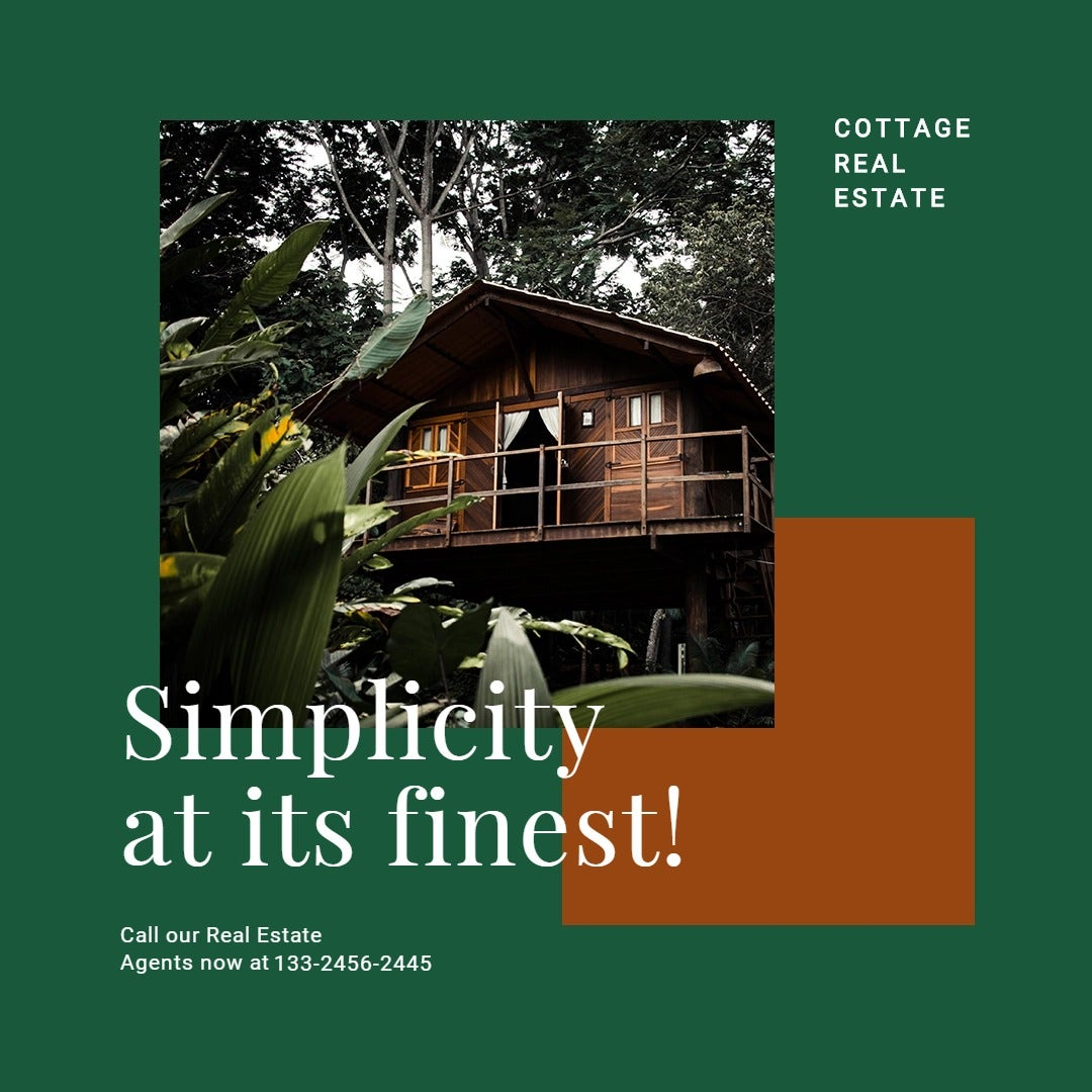 Cottage House Real Estate Instagram Post Template