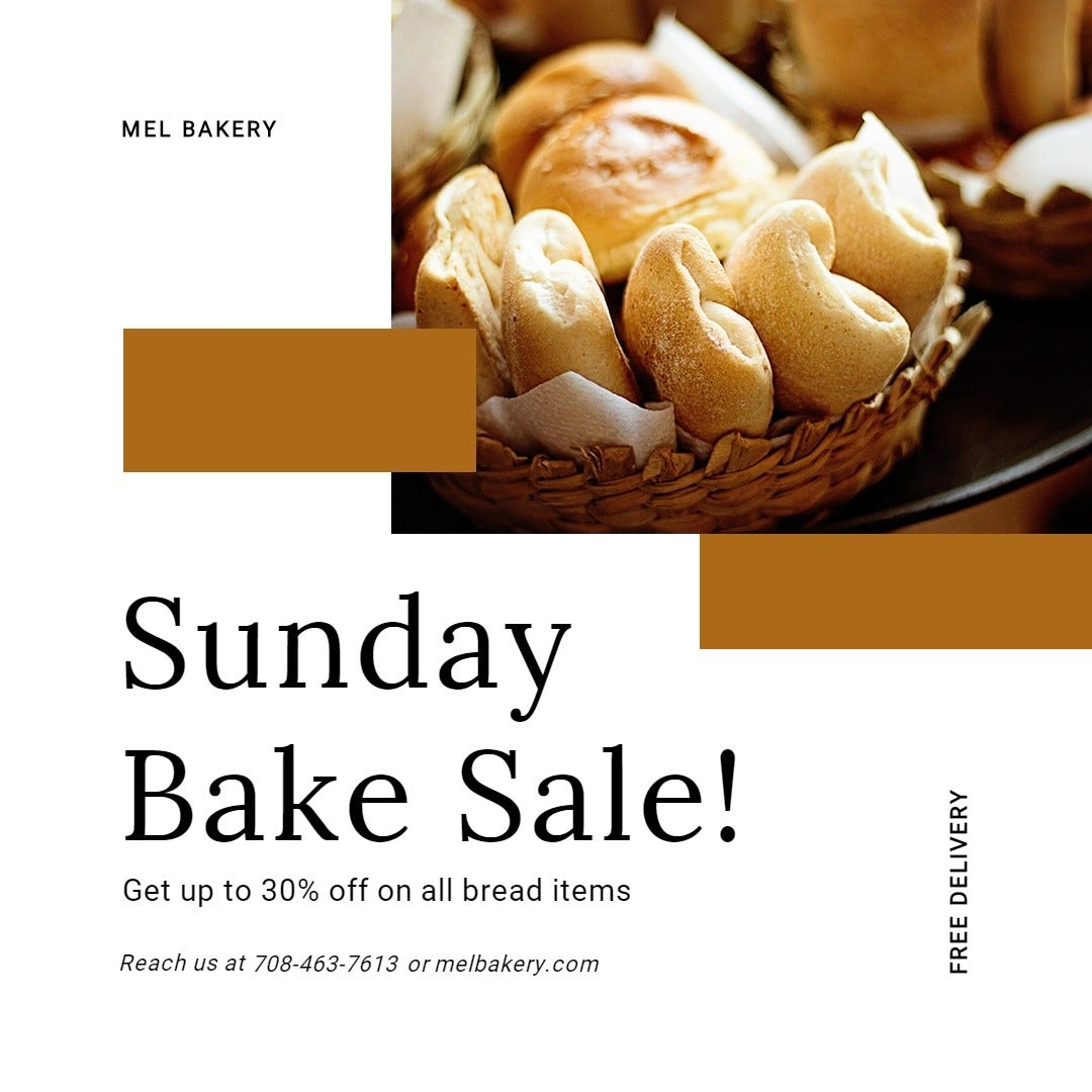 Sunday Bake Sale Instagram Post Template