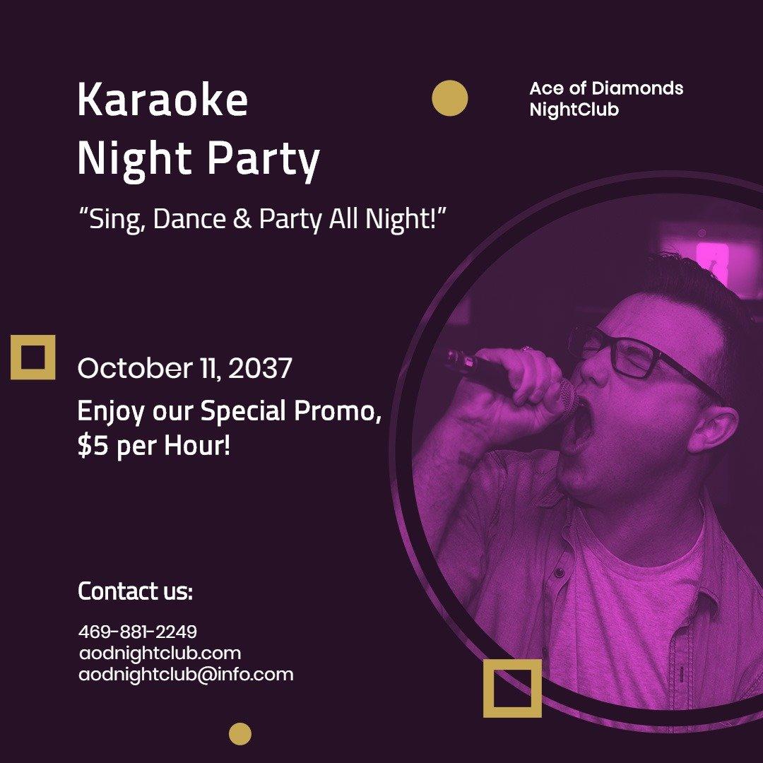 Karaoke Night Club Instagram Post Template